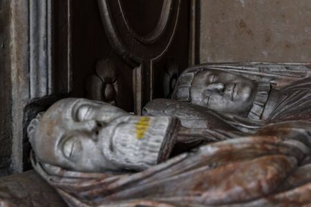 Culross, Scotland  - September 16 2019: Close op and detail of the Grand Renaissance monument for Sir George Bruce of Carnock in the Culross Abbey, Fife, UK September 16,  2019