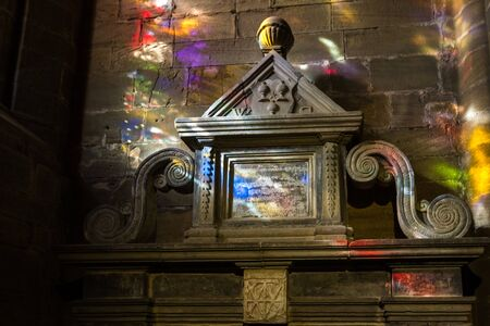 Dunfermline  Scotland  - September 15 2019: Tomb of William Schaw, the father of Freemasonry in Scotland located in the Dunfermline Abbey, UK September 15,  2019