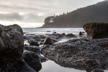 moody afternoon at the Oregon coast with low clouds and a bit of light on the rocky shoreline leading to the point at Cape Sebastian in southern Oregon Stok Fotoğraf - 152841983