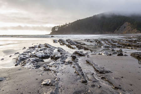 moody afternoon at the Oregon coast with low clouds and a bit of light on the rocky shoreline leading to the point at Cape Sebastian in southern Oregon Stok Fotoğraf