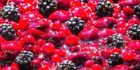 close up of a bowl of mixed berries under bright sunlight reflecting a beautiful sparkle on the shiny fruit Stok Fotoğraf - 154166267