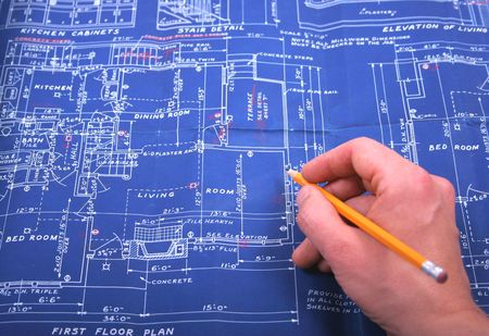 blueprint with hand and pencil Stock Photo