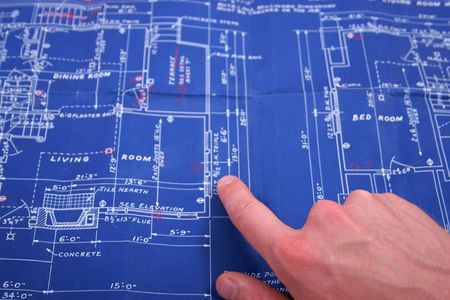 blueprint with finger pointing