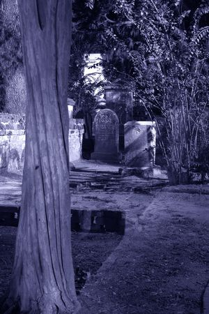 ghoulish: Blue tint monochrome of cemetery