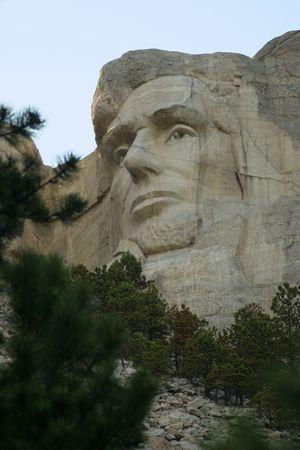'mt rushmore': Closeup of Lincolns face at Mt Rushmore