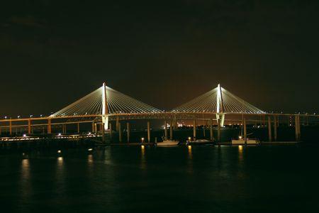 Suspension bridge at night in Charleston SC Stock Photo