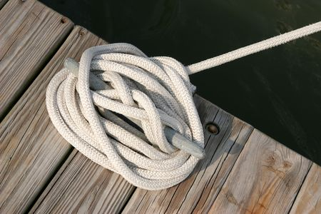 cleat: Mooring rope tied to a cleat