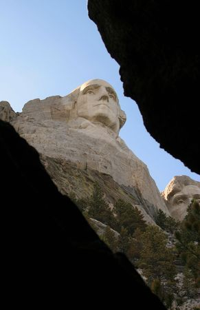 crevasse: George Washington as seen from a crevasse in the rock Editorial