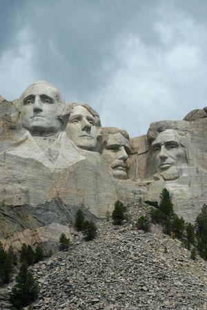 Mt Rushmore under stormy skies