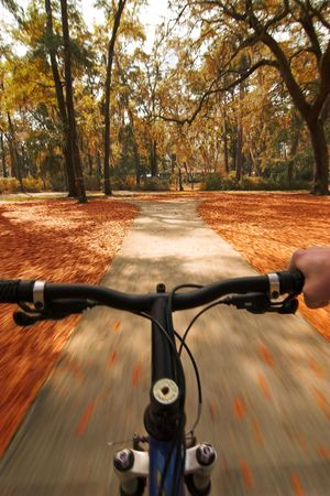 biking through autumn colors Stock Photo - 2153417