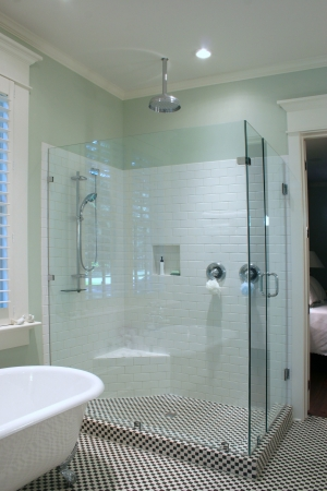 double glass: modern white and black tile bathroom Editorial
