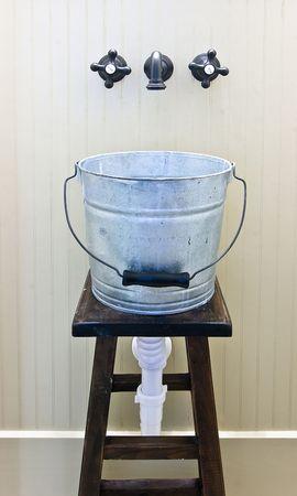 unique jury-rigged bucket sink photo