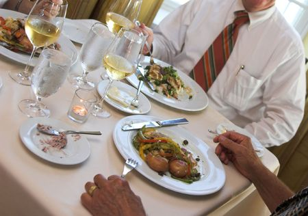business lunch, food and wine on the table