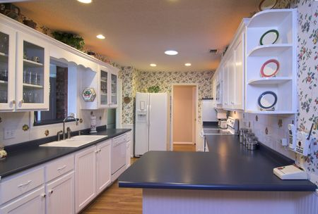 dated: quaint, clean, country kitchen