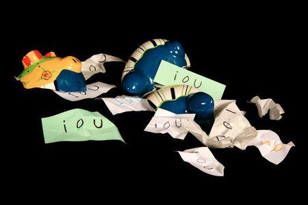 借用書、借金を借りている、あなた、私は、銀行、貯金箱、貯金箱銀行、破産、盗難、浪費、金融、金融、強盗、強盗、壊れた、逮捕、紙、メモ、