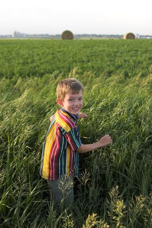 little farmboy smiling in hayfield photo