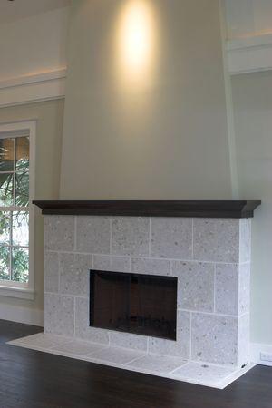gas fireplace: white stone fireplace