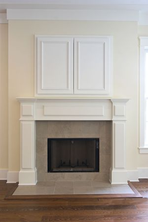 fireplace with closed cabinet for flatscreen tv. Can be paired with other photo in this photographers gallery