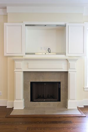 fireplace with open cabinet for flatscreen tv. Can be paired with other photo in this photographers gallery