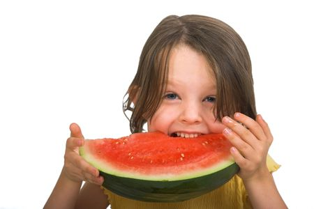 little girl eating watermelon, isolated over white Stock Photo - 2214558