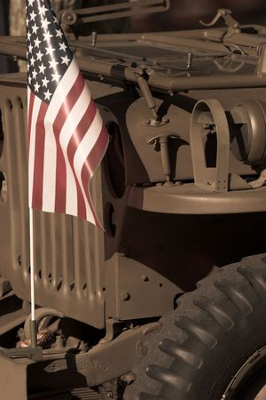 detail of vintage military with american flag, sepia