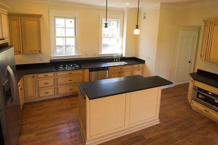 beautiful new kitchen with island Stock Photo - 2262914