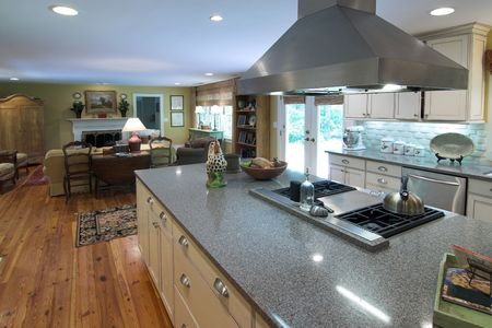 expensive granite: large open kitchen and livingroom Stock Photo