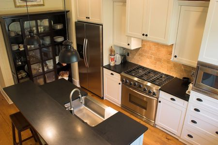 custom cabinets luxury kitchen overhead view