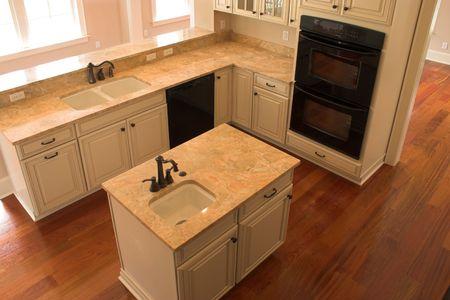overhead view of modern kitchen Stock Photo