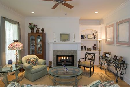 comfortable luxurious livingroom with fireplace photo
