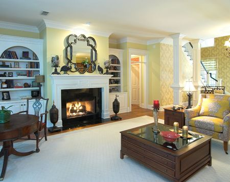 opulent living room with fireplace