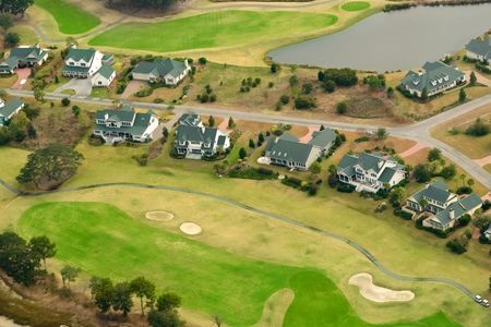 aerial: aerial view of golf community Stock Photo