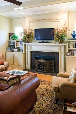 elegant living room with fireplace and plasma tv