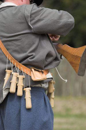 muzzleloader: man with flint lock rifle Stock Photo