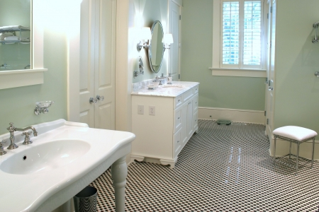 bathroom tile: classic white and black tile bathroom