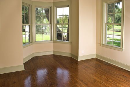 empty room with bay window, place own furniture