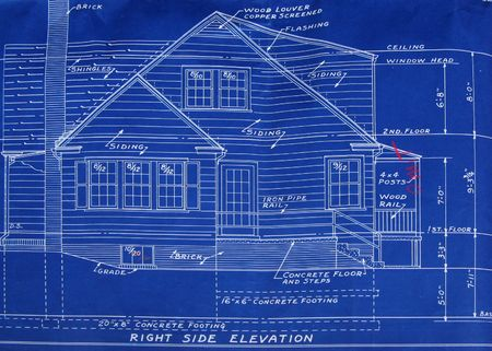 elevation: Right side elevation blueprint