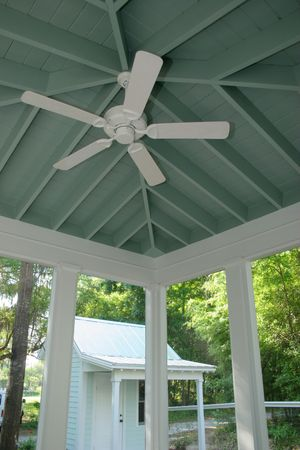 rafters: detail of porch area and rafters Stock Photo