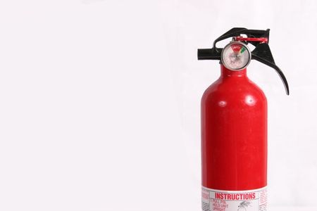combust: fire extinguisher isolated with room for text Stock Photo
