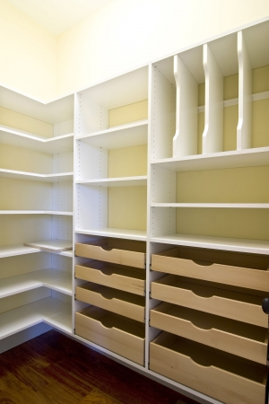 empty walk-in closet with shelves and drawers
