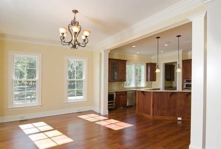unfurnished: open kitchen and dining area in upscale home