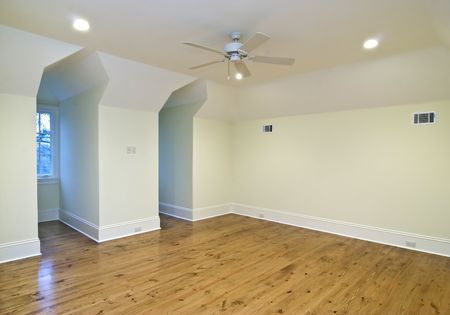 unfurnished upstairs bedroom with two gable windows, place your own furniture photo