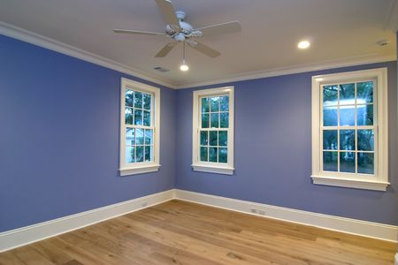 empty blue bedroom, place your own furniture photo