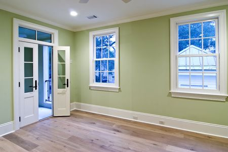 unfurnished bedroom with open door to porch Stock Photo - 2646588