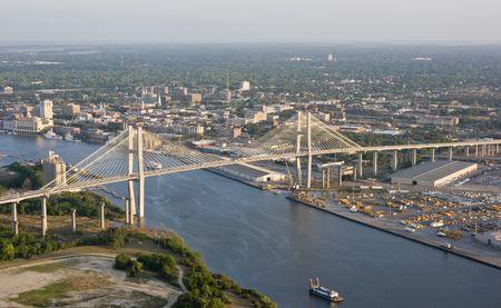aerial view of savannah georgia and bridge