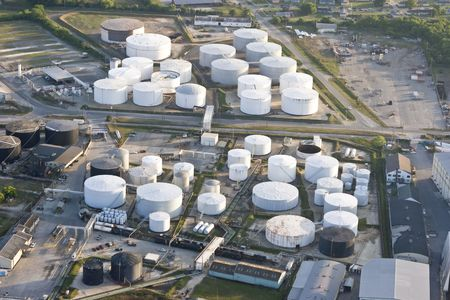 globalwarming: oil storage tank, aerial view Stock Photo