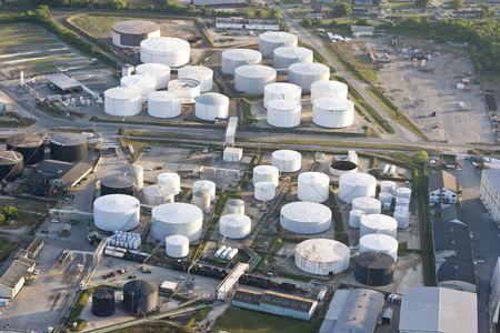 oil storage tank, aerial view Stock Photo