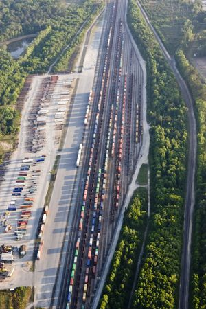 goods train: aerial view of train depot with trains Stock Photo