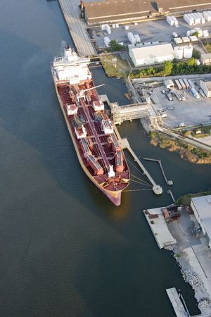 aerial view of oil tanker in port photo