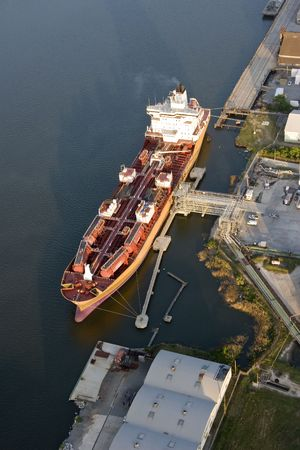 material: aerial view of oil tanker in port Stock Photo